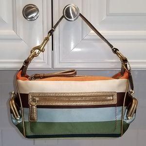 Coach RARE Striped Dual EW Kisslock Mini Hobo Bag